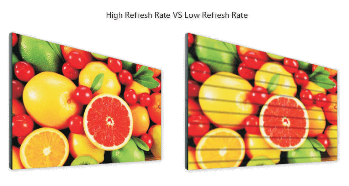 high refreshing rate is better than low refreshing rate of mobile LED display