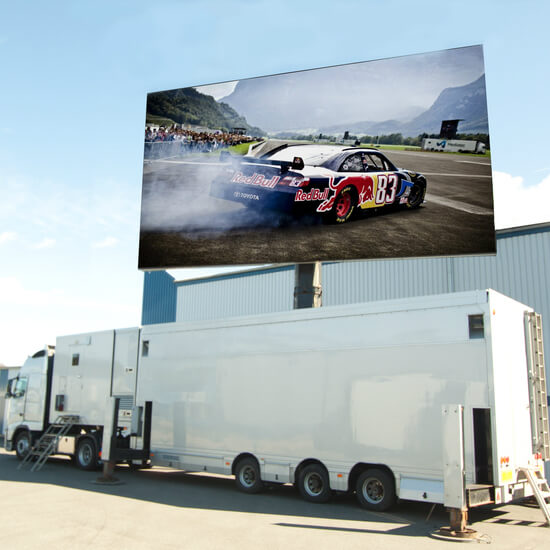Mobile LED wall screen trailer is broadcasting