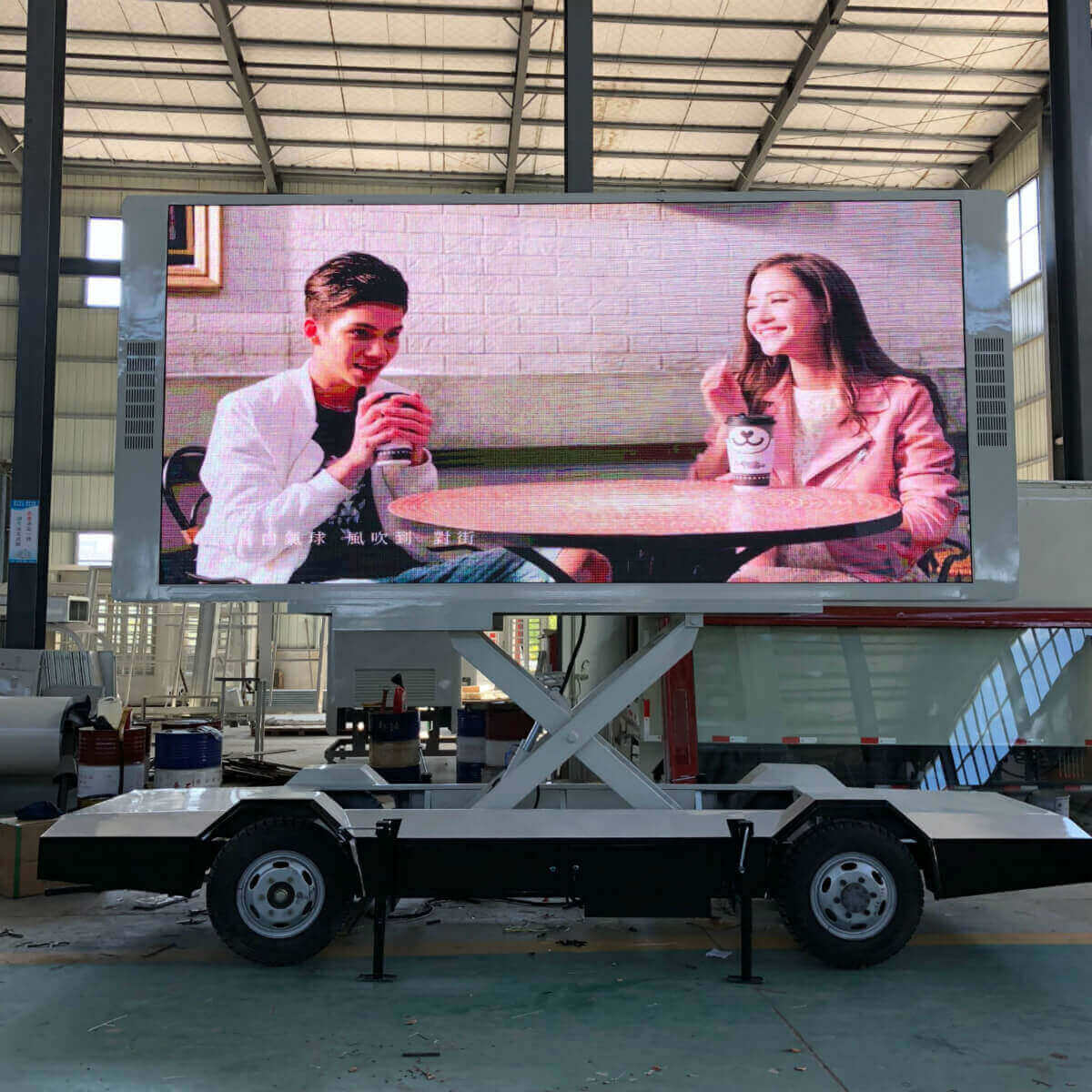 mobile LED trailer after screen lifting up