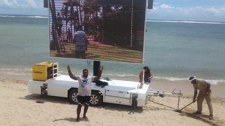 LED display trailer near seaside
