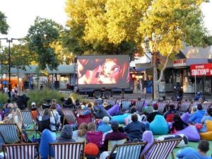 Digital LED screen trailer for outdoor movie