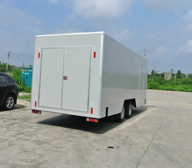 rear side of MB-22 mobile LED sign enclosed trailer