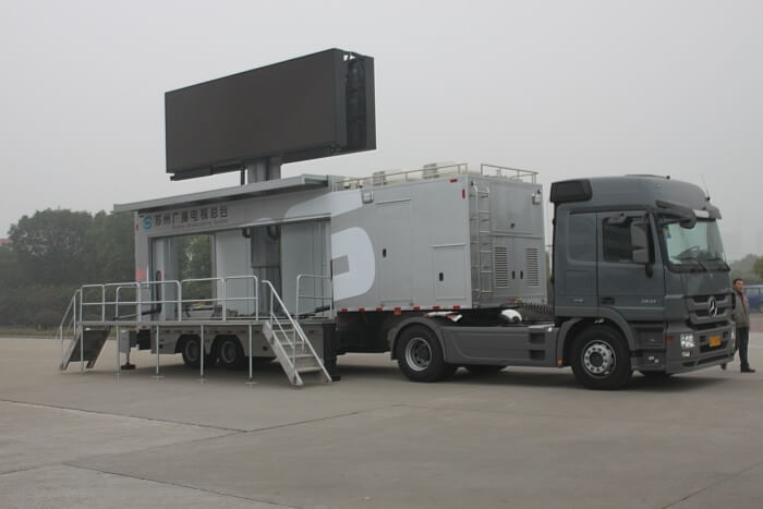 MOBO trailer with 32sqm foldable LED wall screen