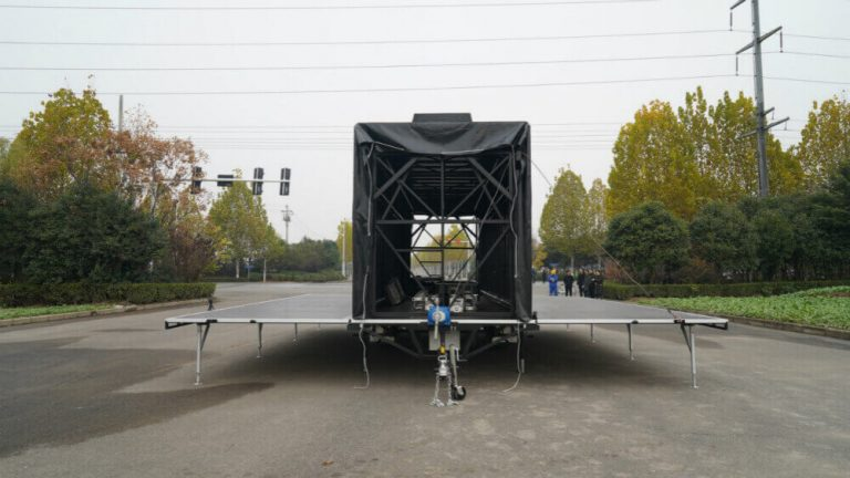 Stage open of MB-50 stage trailer