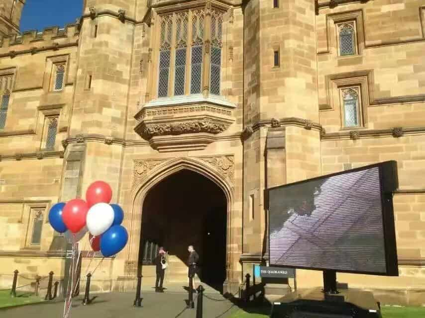 LED screen trailer in university