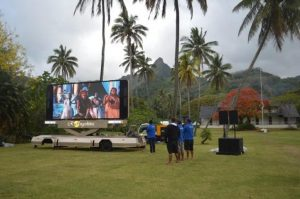 LED screen trailer in island concert event